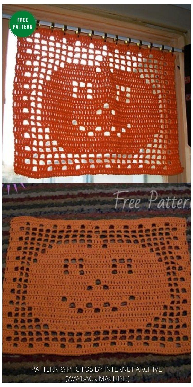 Filet Crochet Pumpkin Mat - 13 Free Crochet Pumpkin Patterns For Your Home