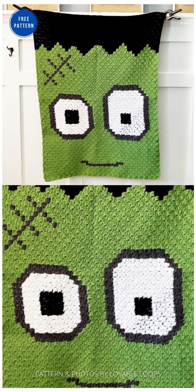 Frankenstein Blanket - 9 Free Crochet Halloween Blanket & Afghan Patterns