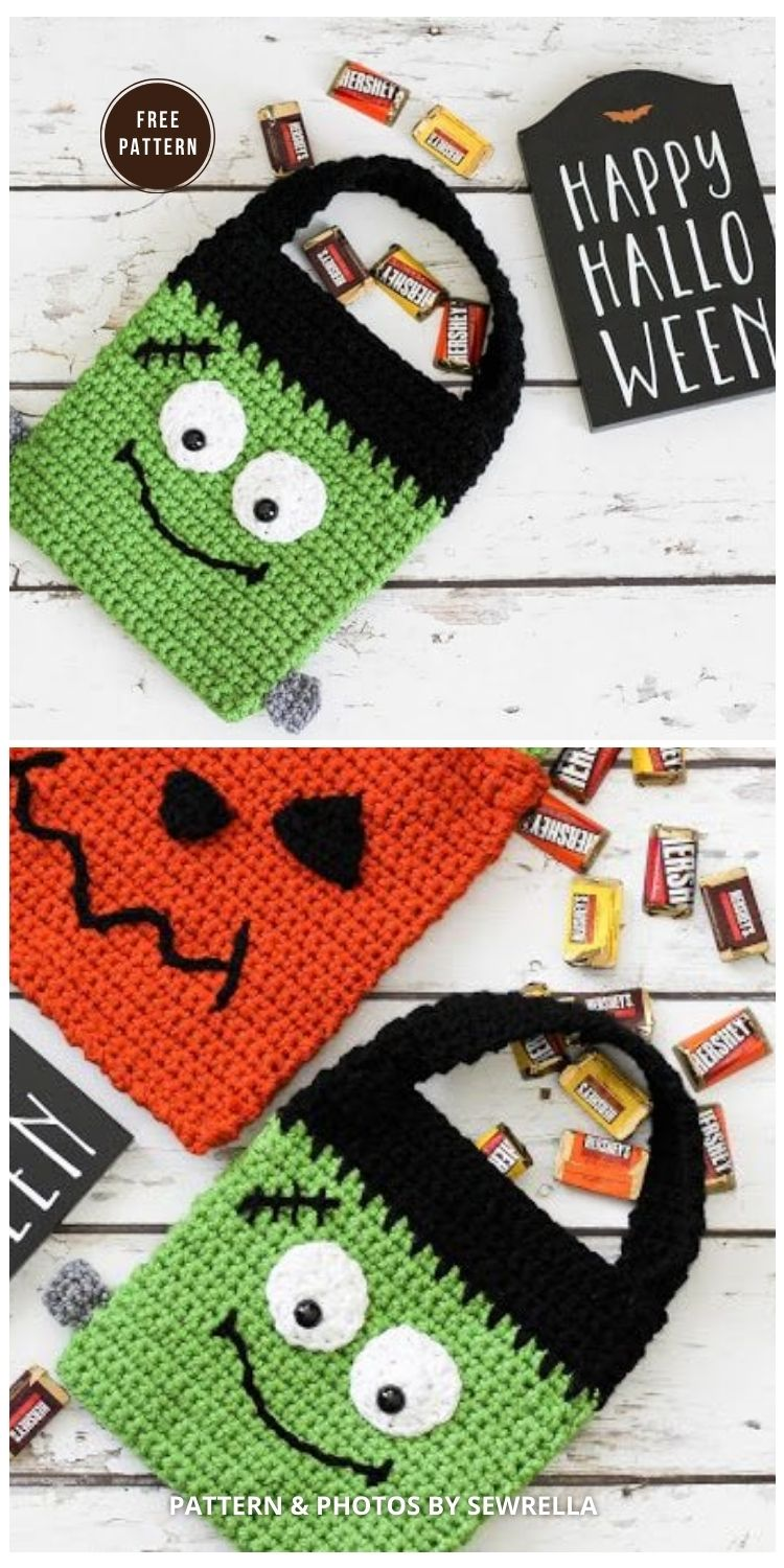 Frankenstein Trick-or-Treat Bag - 9 Free Trick Or Treat Bags Crochet Patterns