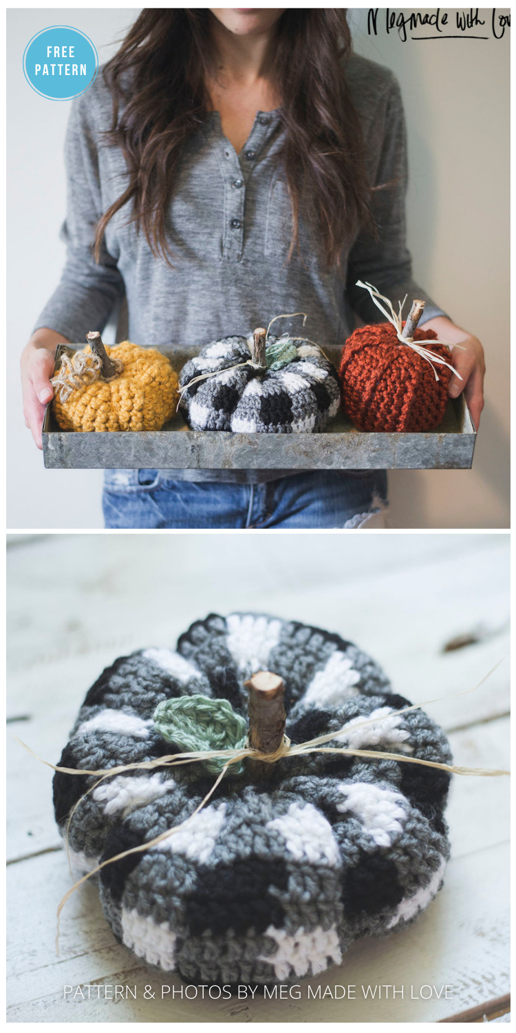 Free Crochet Pattern for the Cutest Plaid Pumpkin - 18 Free Farmhouse Crochet Pumpkin Patterns