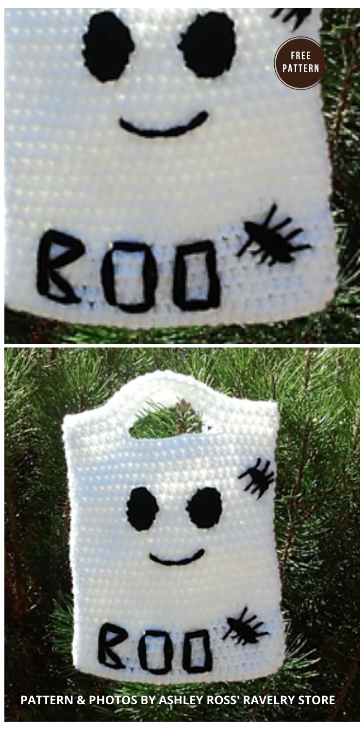 Ghost Trick or Treat Bag - 9 Free Trick Or Treat Bags Crochet Patterns
