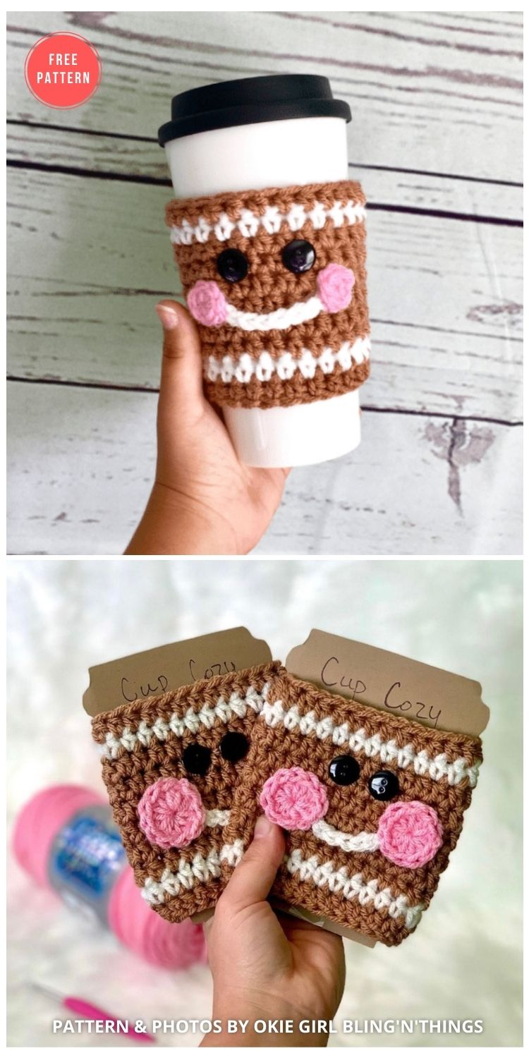 Gingerbread Cup Cozy - 10 FREE GINGERBREAD CROCHET PATTERNS