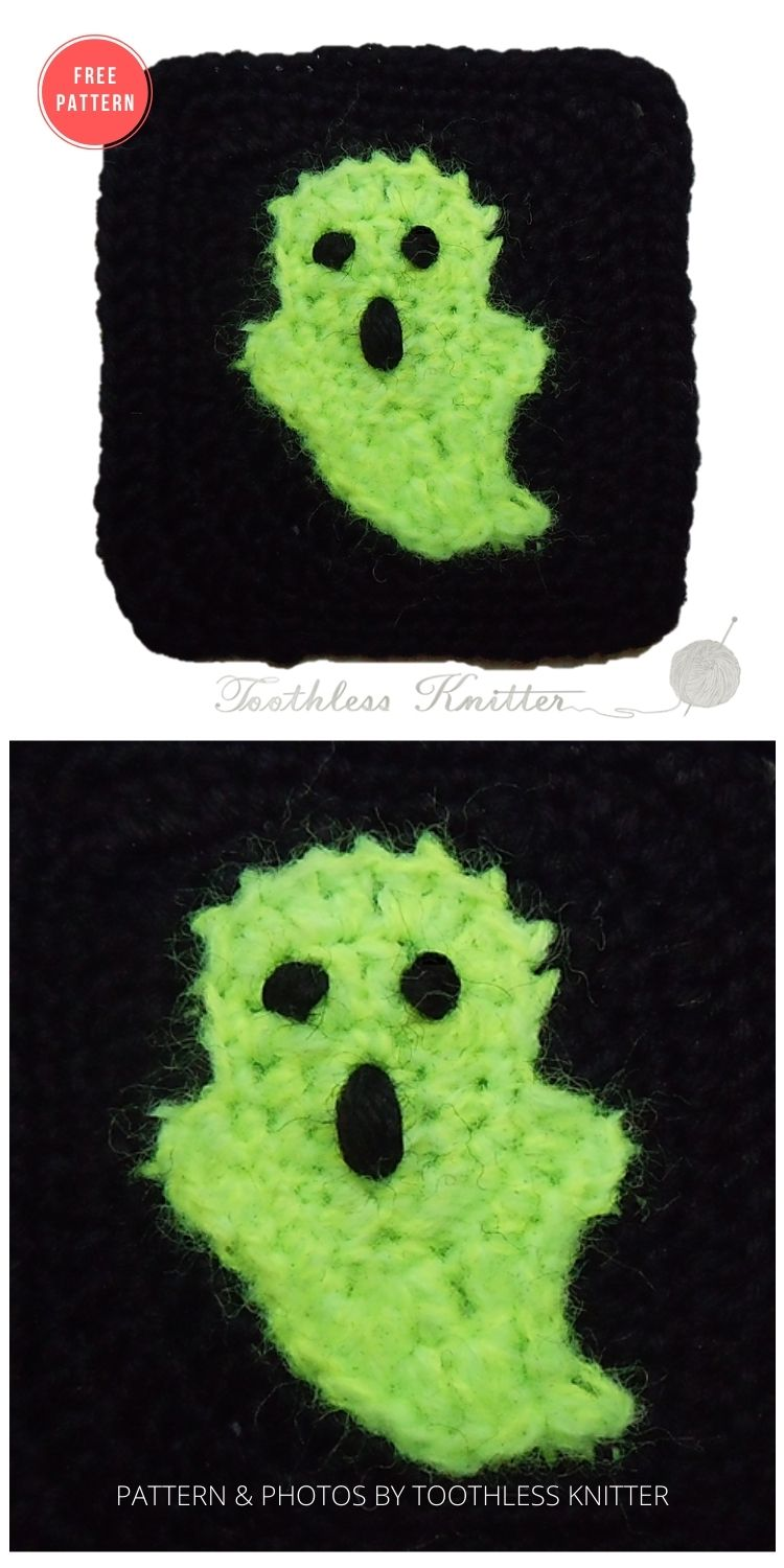 Granny Squares and Motifs_ Ghost - 15 Free Halloween Granny Squares Crochet Patterns