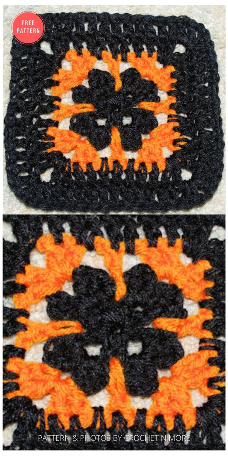 Halloween Afghan Square - 15 Free Halloween Granny Squares Crochet Patterns