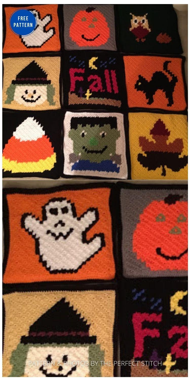 Halloween C2C Blanket - 9 Free Crochet Halloween Blanket & Afghan Patterns