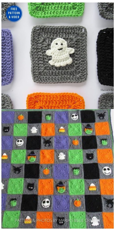 Halloween Ghost Granny Square - 9 Free Crochet Halloween Blanket & Afghan Patterns PIN