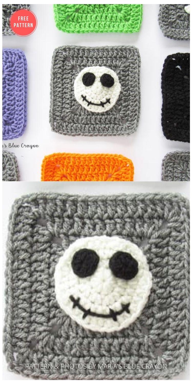 Halloween Skeleton Granny Square - 15 Free Halloween Granny Squares Crochet Patterns