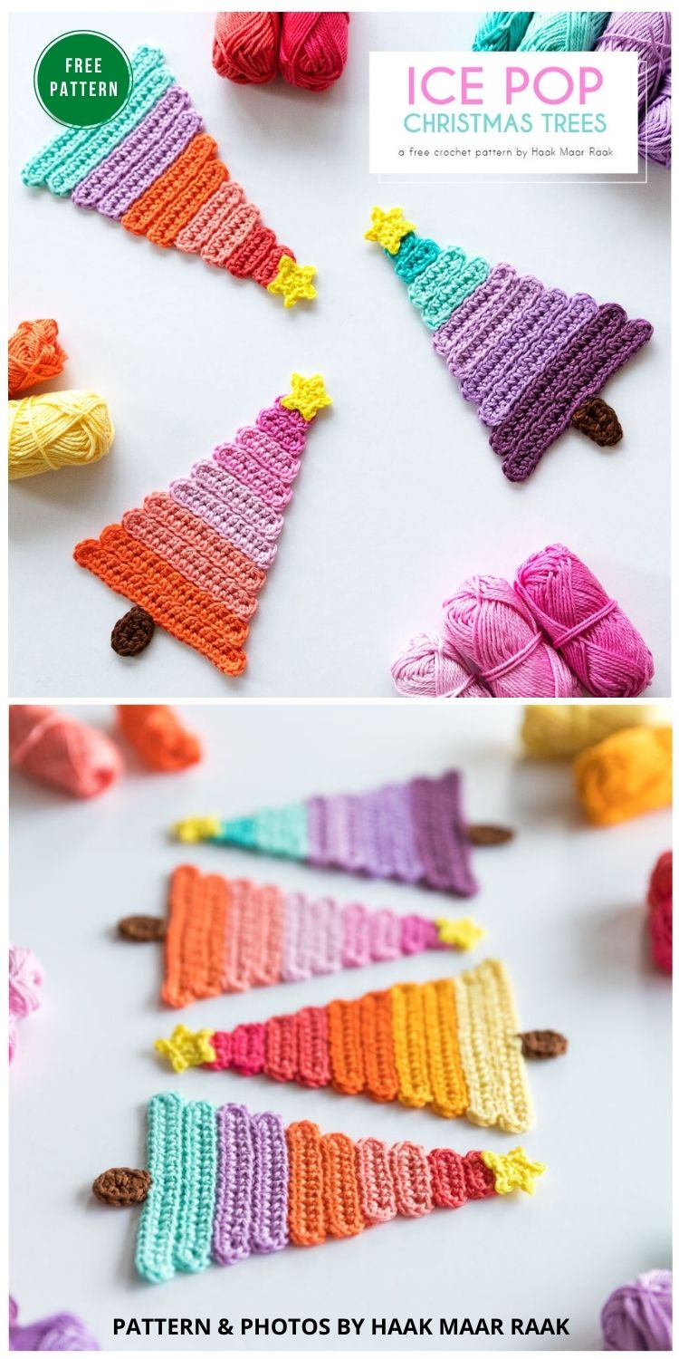 Ice Pop Christmas Trees - 8 Christmas Tree Ornaments Free Crochet Patterns