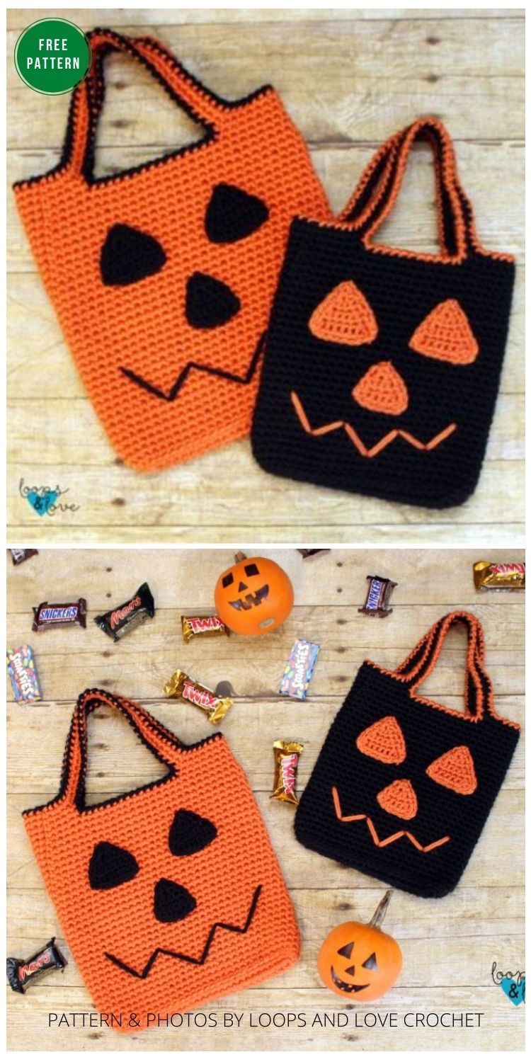 Jack O Lantern Trick or Treat Bag - 8 Free Crochet Halloween Trick Or Treat Bags