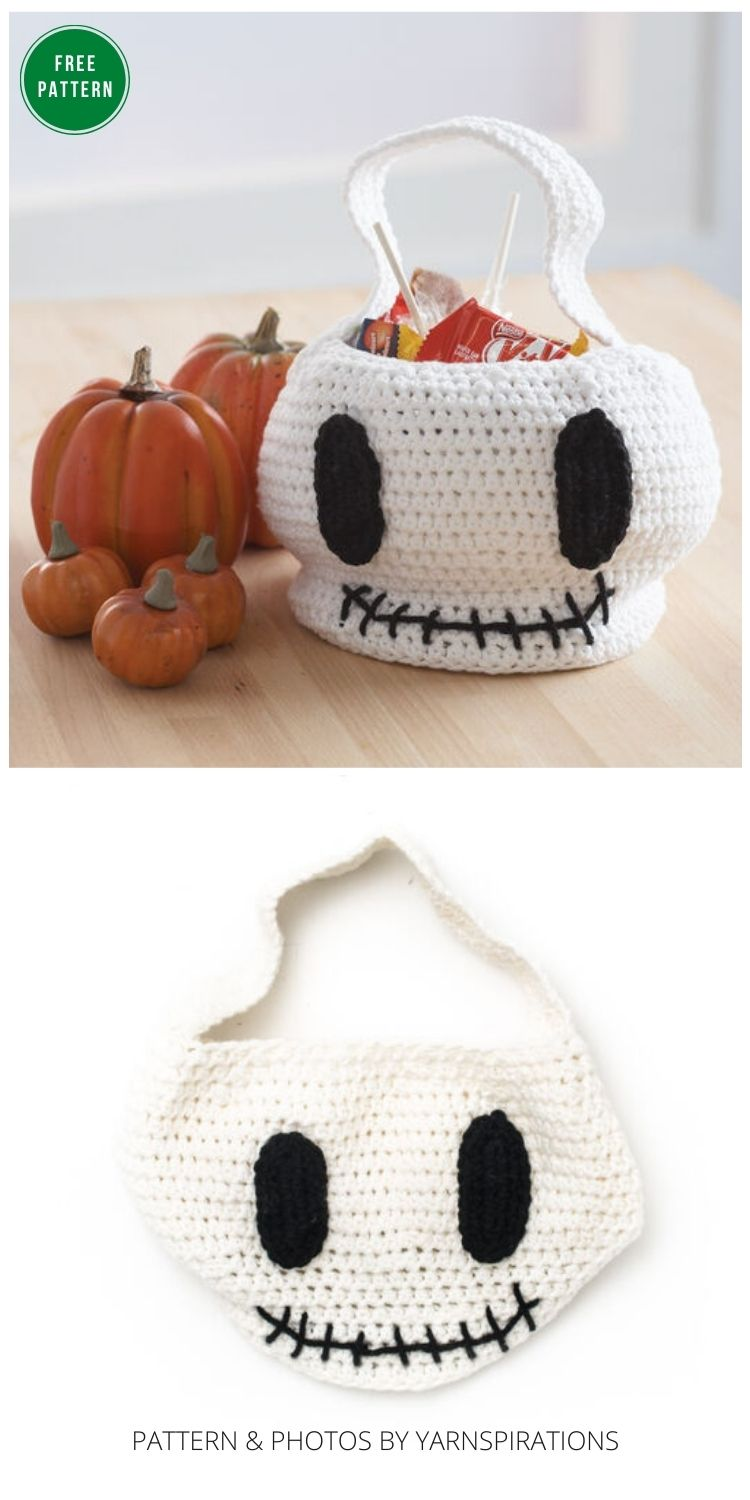 _Lily Sugar'n Cream Skull Trick or Treat Bag - 8 Free Crochet Halloween Trick Or Treat Bags