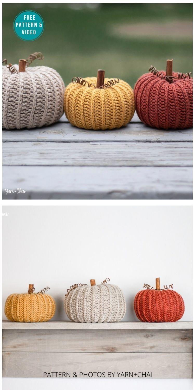Little Rustic Pumpkin - 18 Free Farmhouse Crochet Pumpkin Patterns PIN