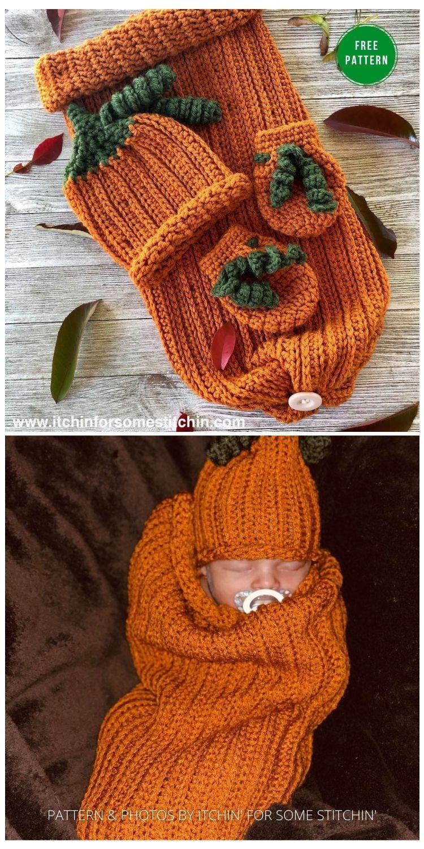 My Lil Pumpkin Pie Newborn Sleep Set - 9 Free Crochet Pumpkin Patterns For Your Little One