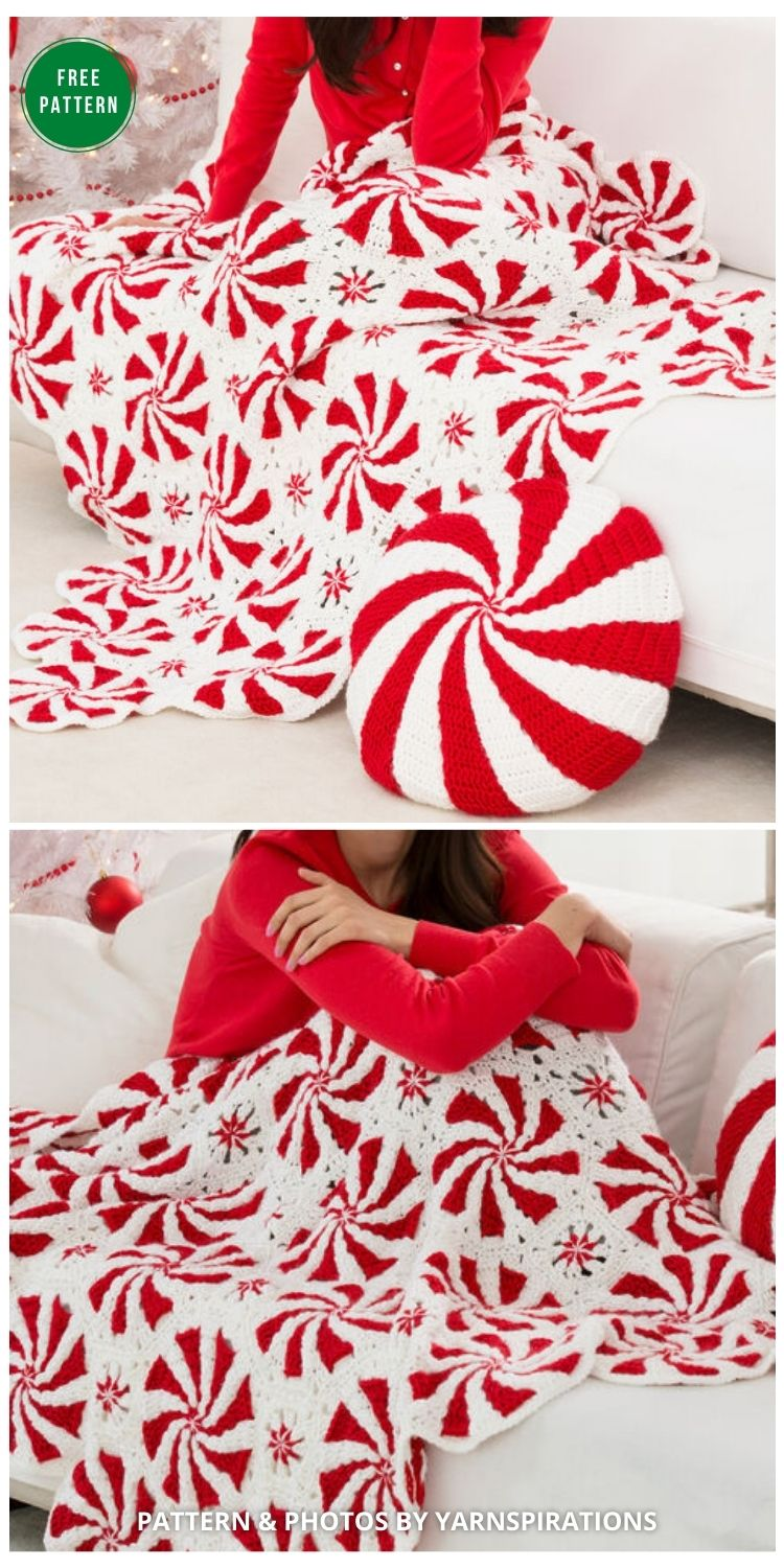 Peppermint Swirl Afghan - 8 Free Granny Square Christmas Blankets & Afghans