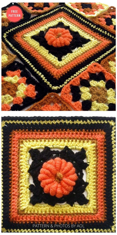 Pretty Punkin - 15 Free Halloween Granny Squares Crochet Patterns
