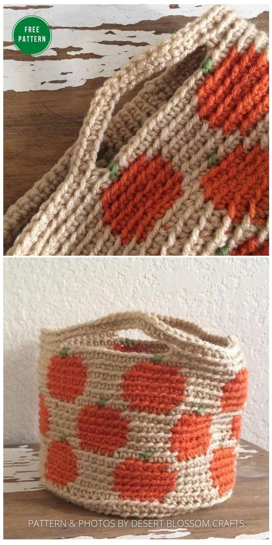 Pumpkin Basket -13 Free Crochet Pumpkin Patterns For Your Home