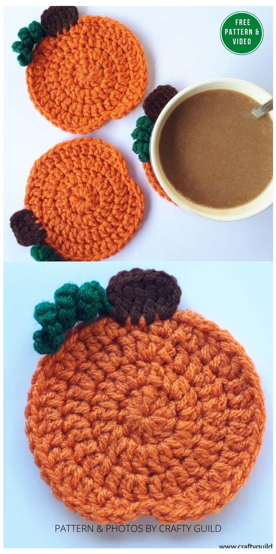 Pumpkin Coaster - 13 Free Crochet Pumpkin Patterns For Your Home PIN