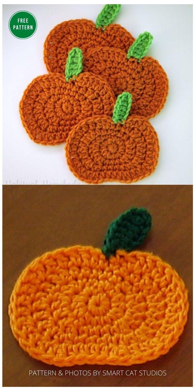 Pumpkin Coaster - 13 Free Crochet Pumpkin Patterns For Your Home