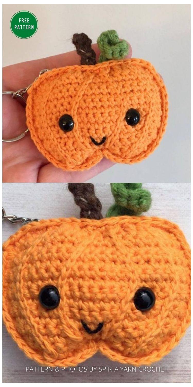 Pumpkin Keychain - 13 Free Crochet Pumpkin Patterns For Your Home