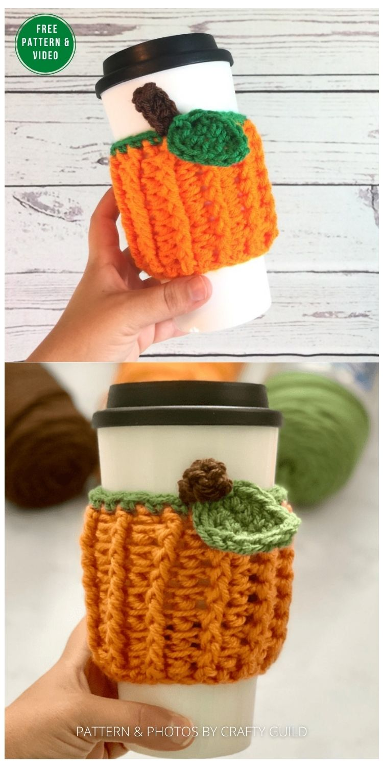 Pumpkin Patch Cup Cozy - 13 Free Crochet Pumpkin Patterns For Your Home PIN
