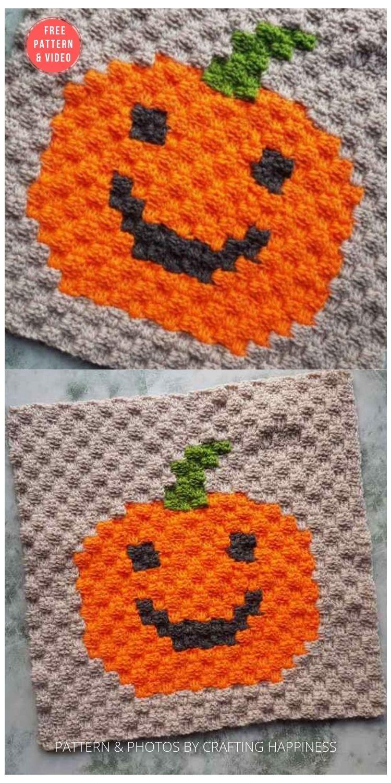 Quick & Easy Jack O Lantern Pixel Square Corner To Corner Crochet - 15 Free Halloween Granny Squares Crochet Patterns PIN