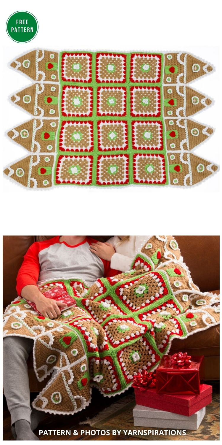 Red Heart Gingerbread House Throw - 8 Free Granny Square Christmas Blankets & Afghans