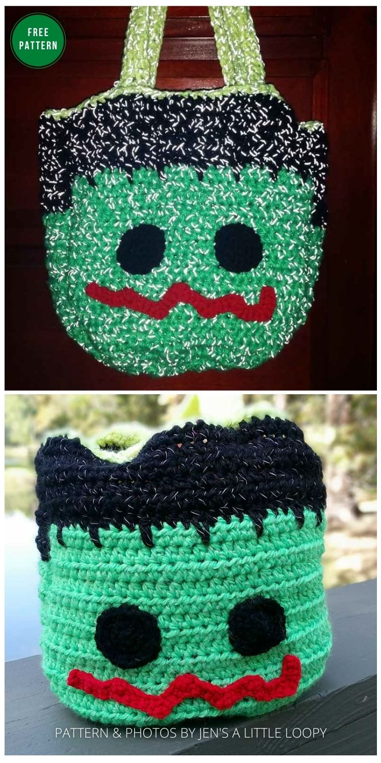 Red Heart Reflective Trick or Treat Bag - 8 Free Crochet Halloween Trick Or Treat Bags