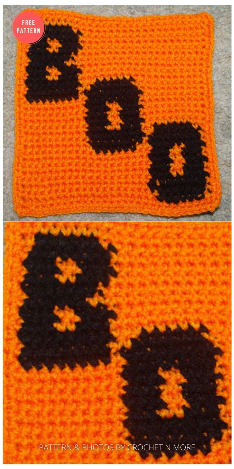 Row Count Boo - 15 Free Halloween Granny Squares Crochet Patterns
