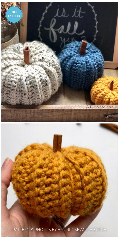 Simple Ribbed Pumpkins - 18 Free Farmhouse Crochet Pumpkin Patterns