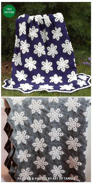 Snowflake Afghan - 8 Free Granny Square Christmas Blankets & Afghans