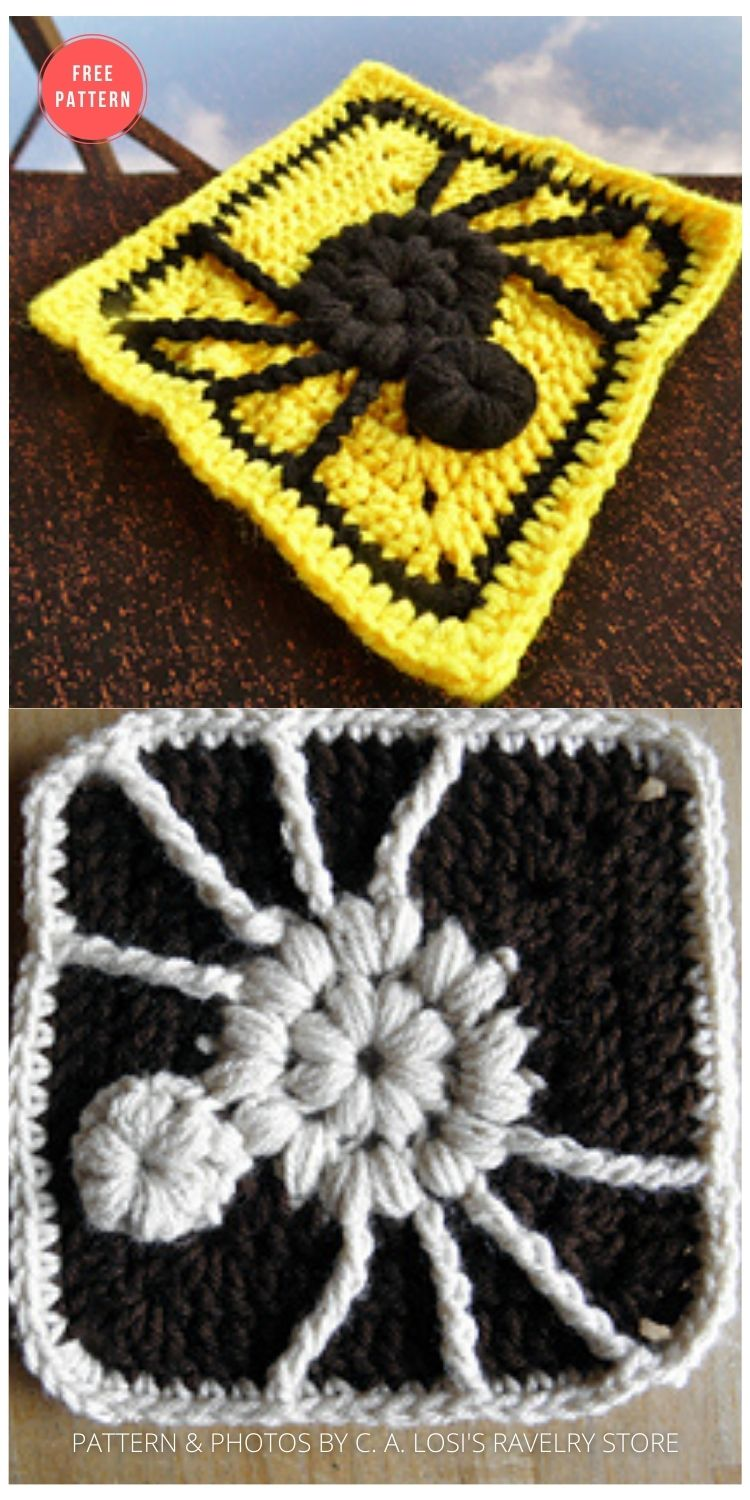 Spider Square - 15 Free Halloween Granny Squares Crochet Patterns