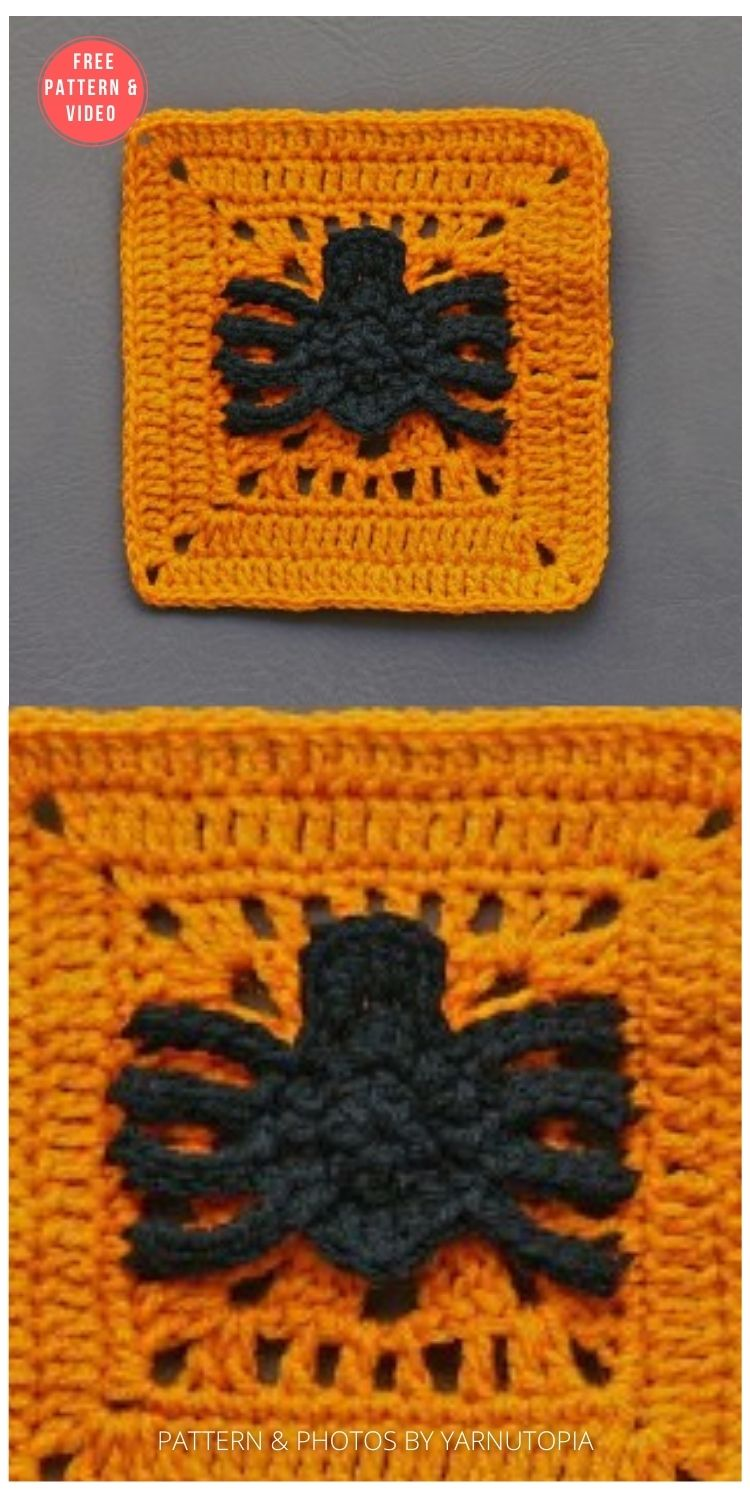 Spinning Spider Granny Square - 15 Free Halloween Granny Squares Crochet Patterns PIN