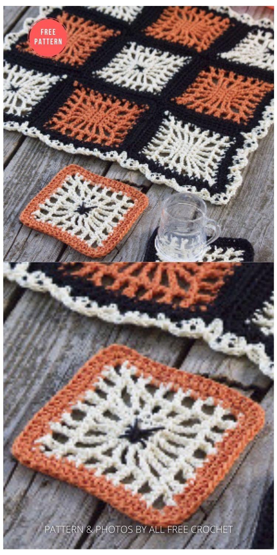 Spooky Spiderweb Square - 15 Free Halloween Granny Squares Crochet Patterns