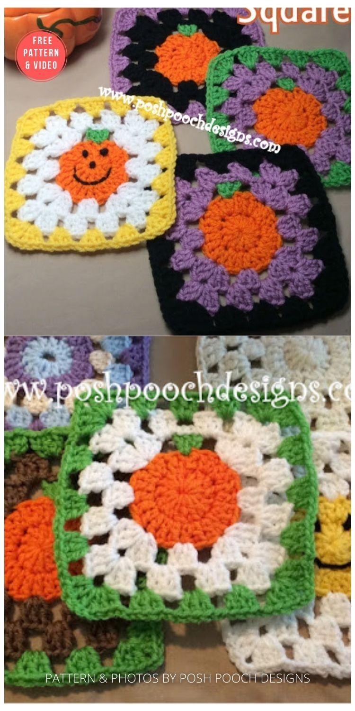 Sweet Little Pumpkin Granny Square - 15 Free Halloween Granny Squares Crochet Patterns PIN