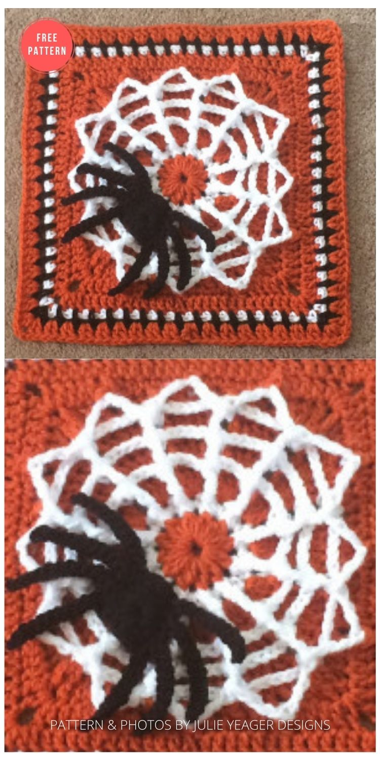 Tangled Web Spider Web Afghan Square - 15 Free Halloween Granny Squares Crochet Patterns