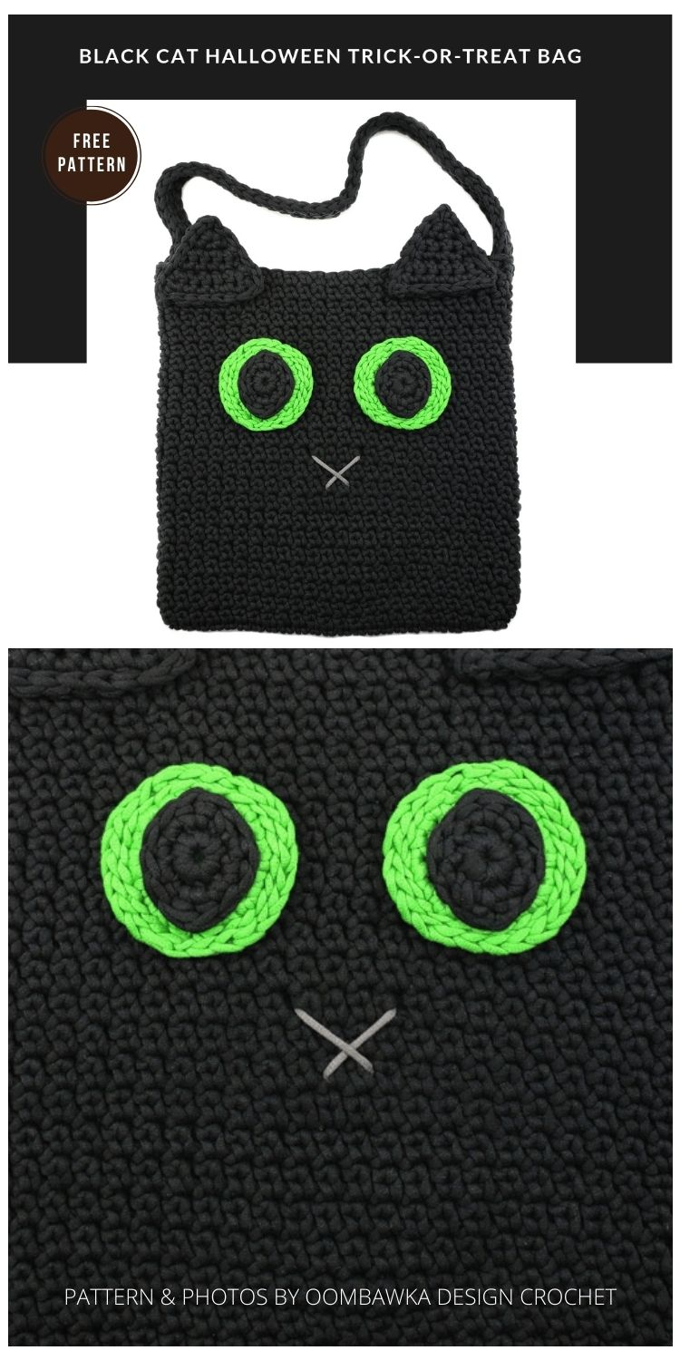 The Black Cat Halloween Trick-Or-Treat Bag - 9 Free Trick Or Treat Bags Crochet Patterns