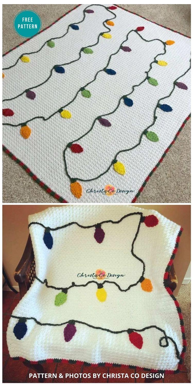 The Crochet Christmas Lights Blanket Free Pattern - 9 Free Crochet Christmas Blankets & Afghans