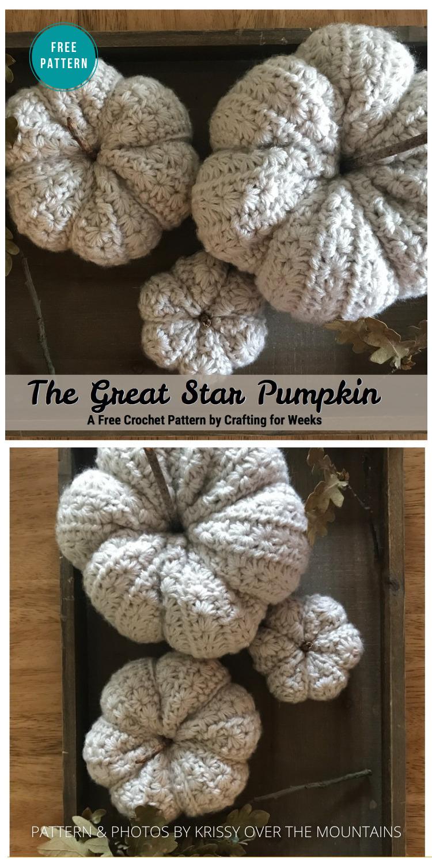 The Great Star Pumpkin - 18 Free Farmhouse Crochet Pumpkin Patterns