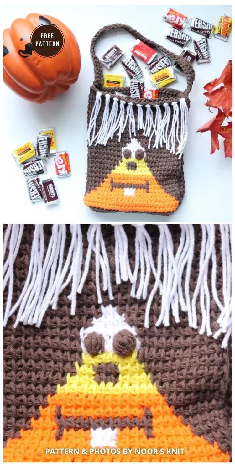 The Skully Corn Bag - 9 Free Trick Or Treat Bags Crochet Patterns