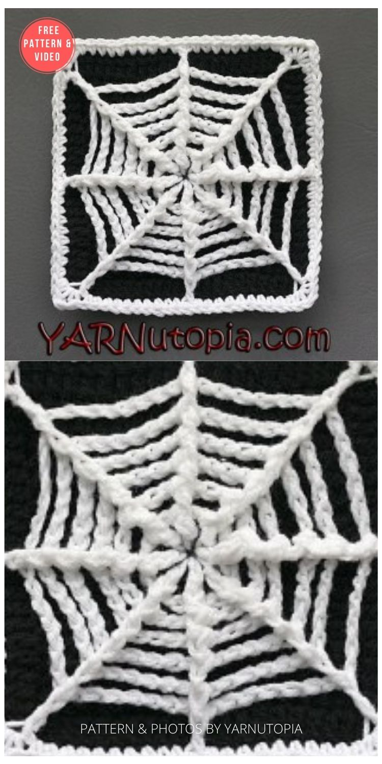 The Web We Weave Granny Square - 15 Free Halloween Granny Squares Crochet Patterns PIN