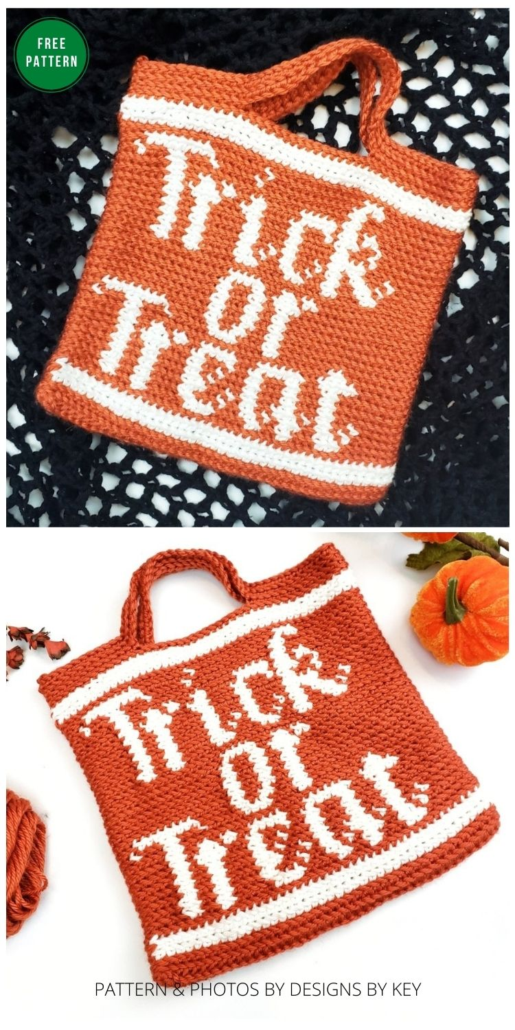 Trick or Treat Crochet Bag - 8 Free Crochet Halloween Trick Or Treat Bags