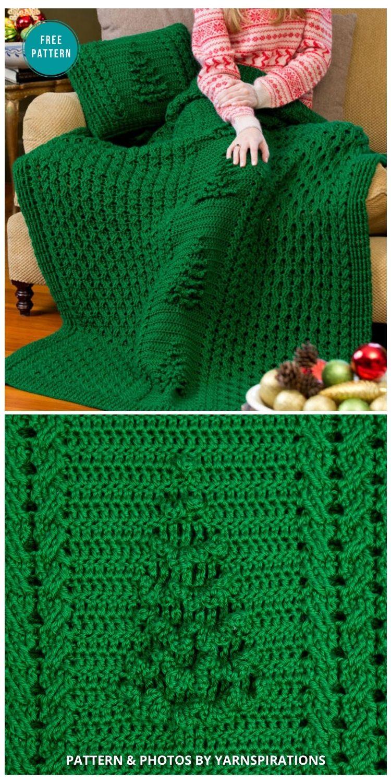 Yule Tree Throw & Pillow - 9 Free Crochet Christmas Blankets & Afghans