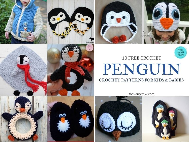 10 Free Crochet Penguin Patterns for Kids & Babies - FB POSTER