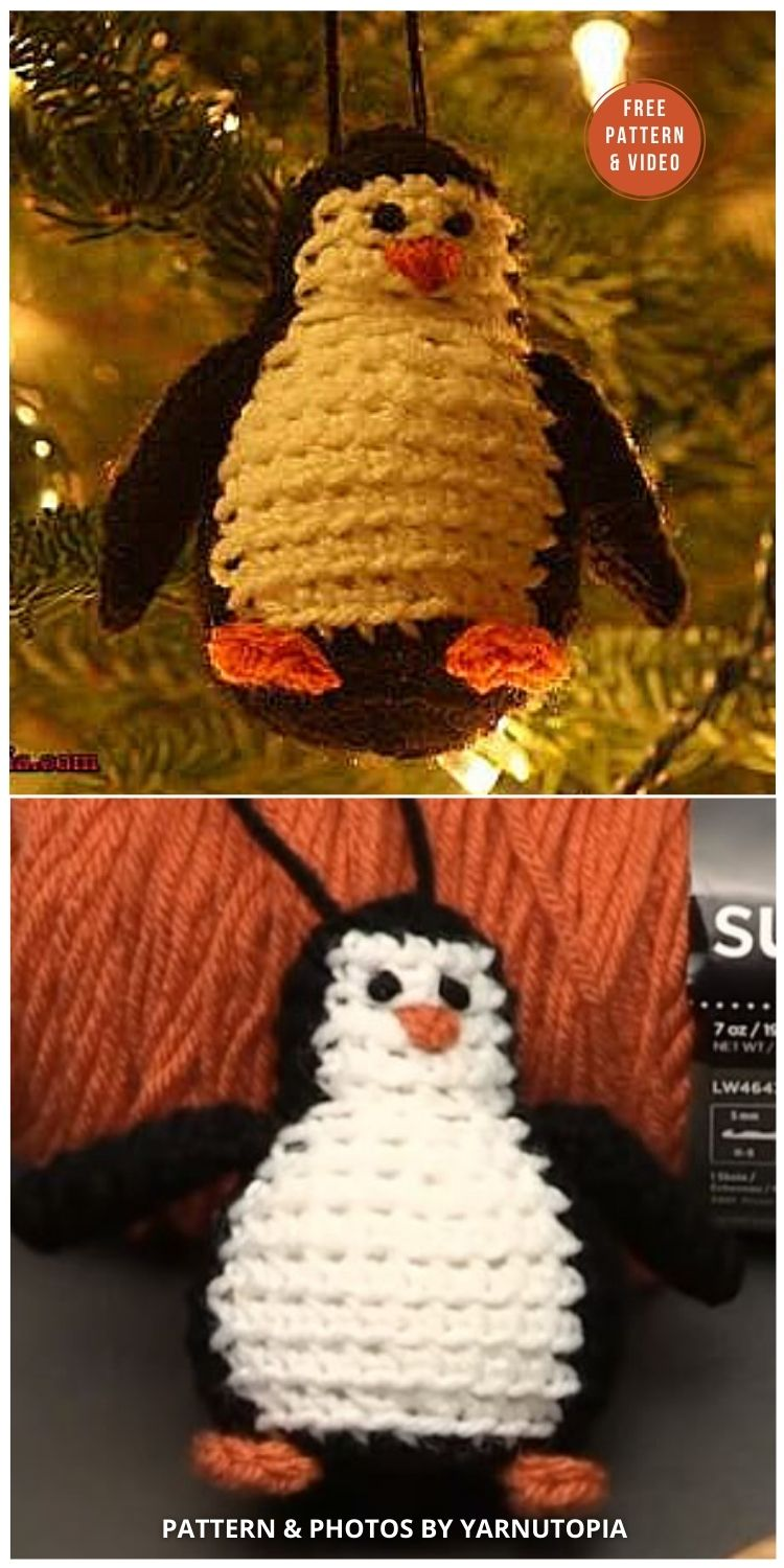 12 Days of Christmas_ Penguin Ornament - 12 Free Crochet Penguin Home Decor Ideas