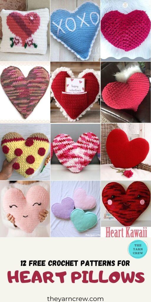 12 Free Crochet Patterns For Heart Pillows - PINTEREST 3