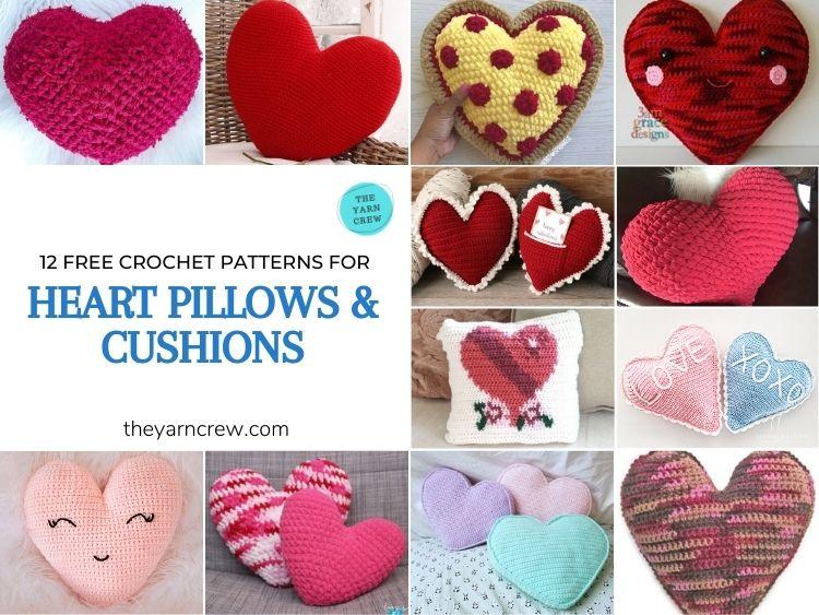 12 Free Crochet Patterns Heart Pillows & Cushions - FACEBOOK POSTER