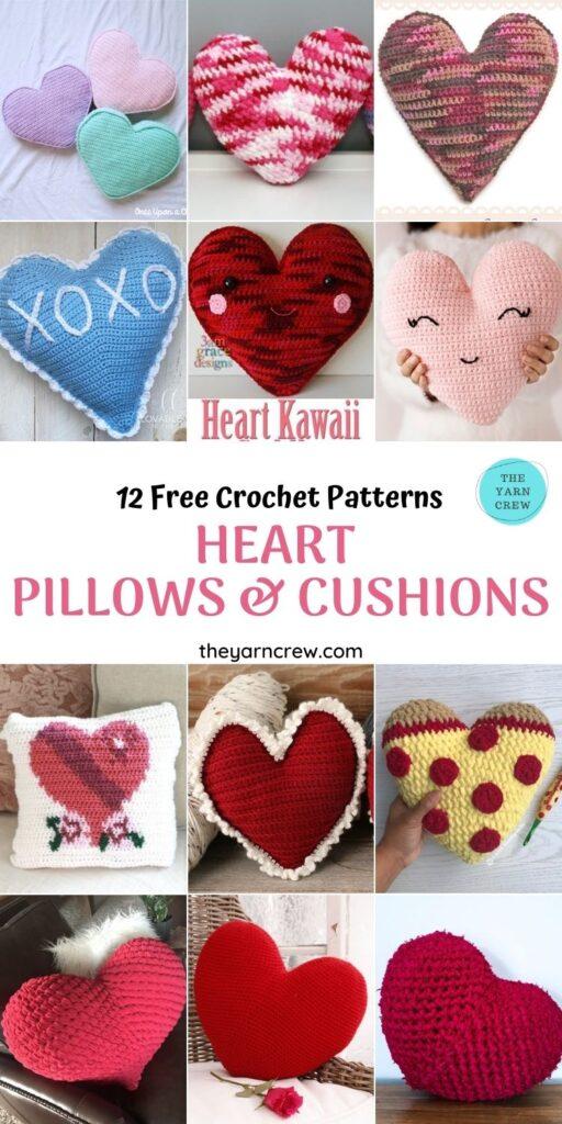 12 Free Crochet Patterns Heart Pillows & Cushions - PINTEREST 1