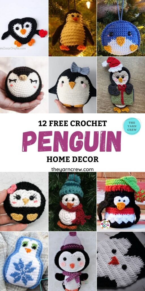 12 Free Crochet Penguin Home Decor Ideas - PIN1