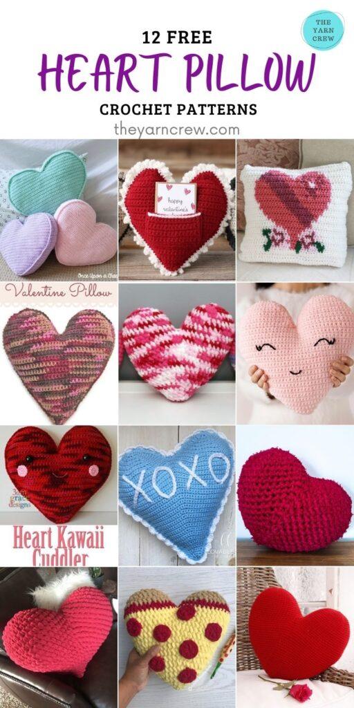 12 Free Heart Pillow Crochet Patterns- PINTEREST 2