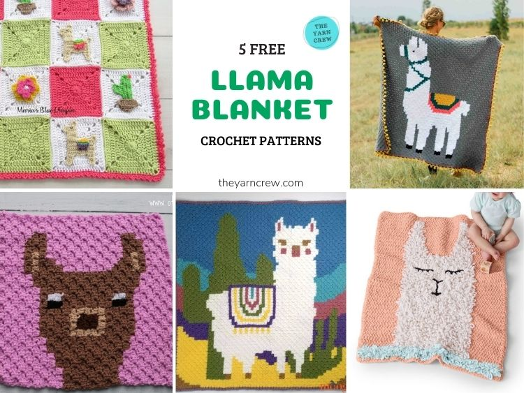 5 Free Llama Blanket Crochet Patterns - FB POSTER