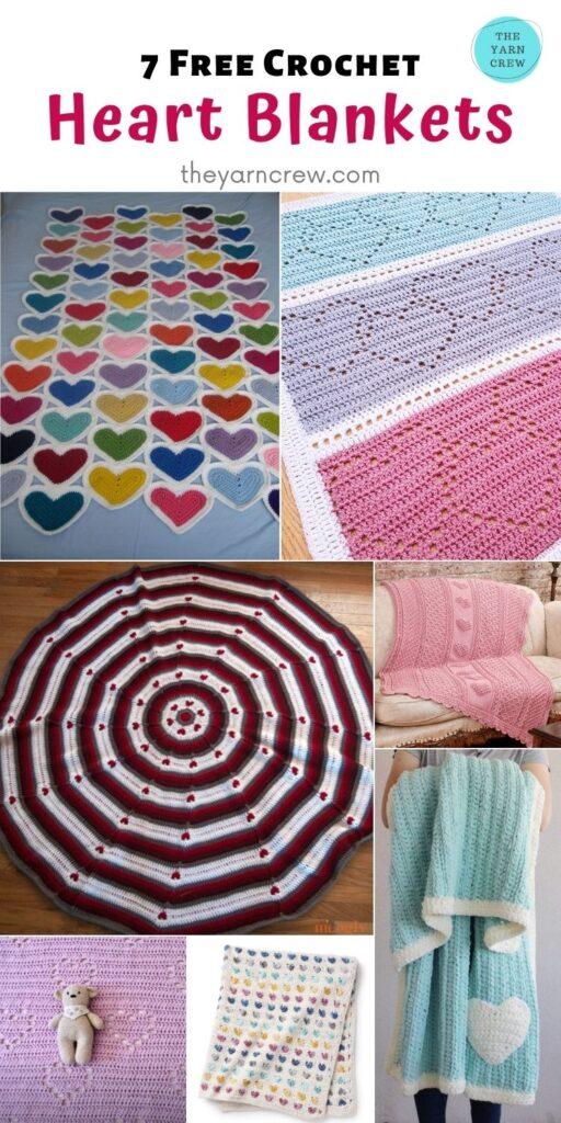 7 Free Crochet Heart Blankets - PIN2